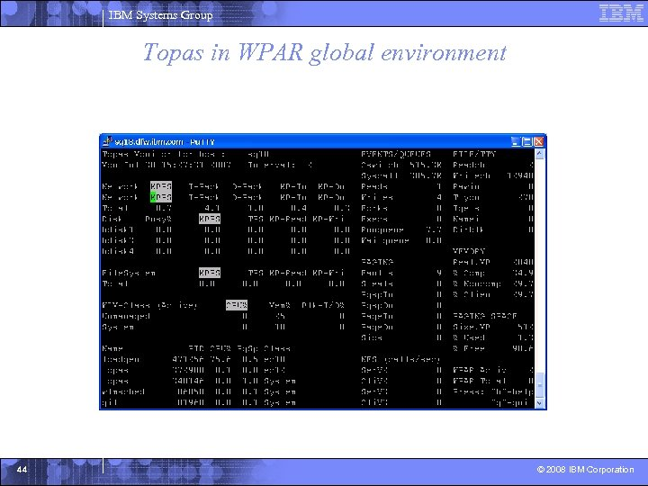 IBM Systems Group Topas in WPAR global environment 44 © 2008 IBM Corporation