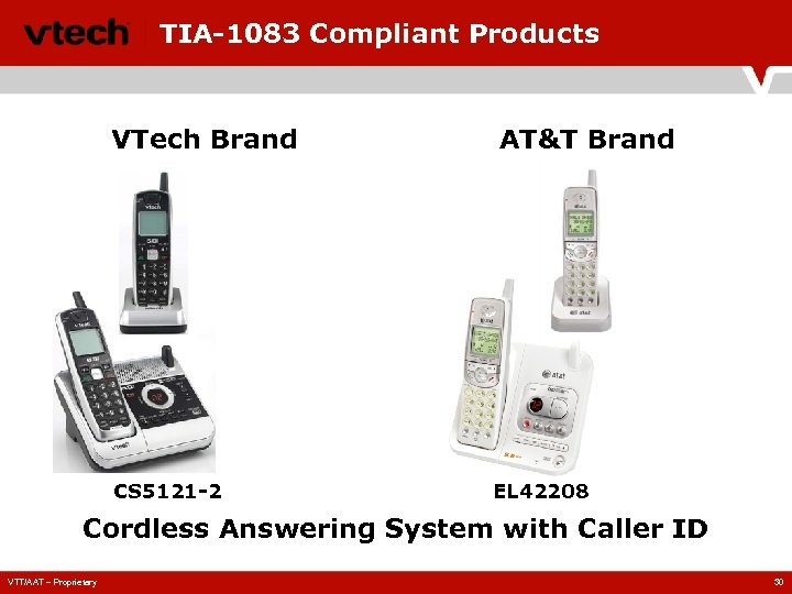 TIA-1083 Compliant Products VTech Brand CS 5121 -2 AT&T Brand EL 42208 Cordless Answering