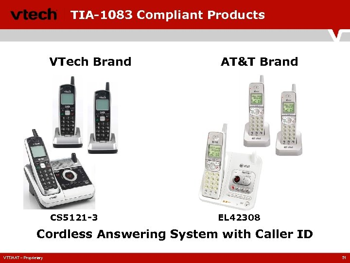 TIA-1083 Compliant Products VTech Brand CS 5121 -3 AT&T Brand EL 42308 Cordless Answering
