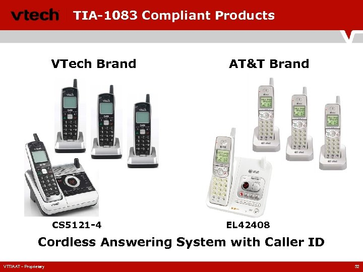 TIA-1083 Compliant Products VTech Brand CS 5121 -4 AT&T Brand EL 42408 Cordless Answering