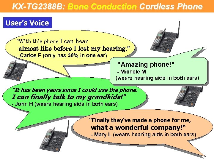 KX-TG 2388 B: Bone Conduction Cordless Phone User's Voice