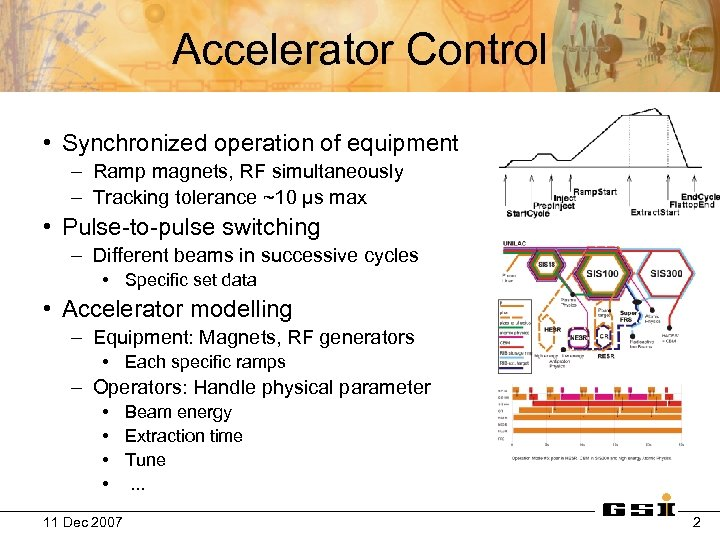 Accelerator Control • Synchronized operation of equipment – Ramp magnets, RF simultaneously – Tracking