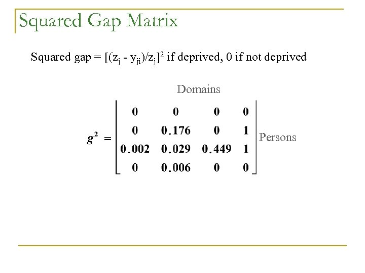 Squared Gap Matrix Squared gap = [(zj - yji)/zj]2 if deprived, 0 if not