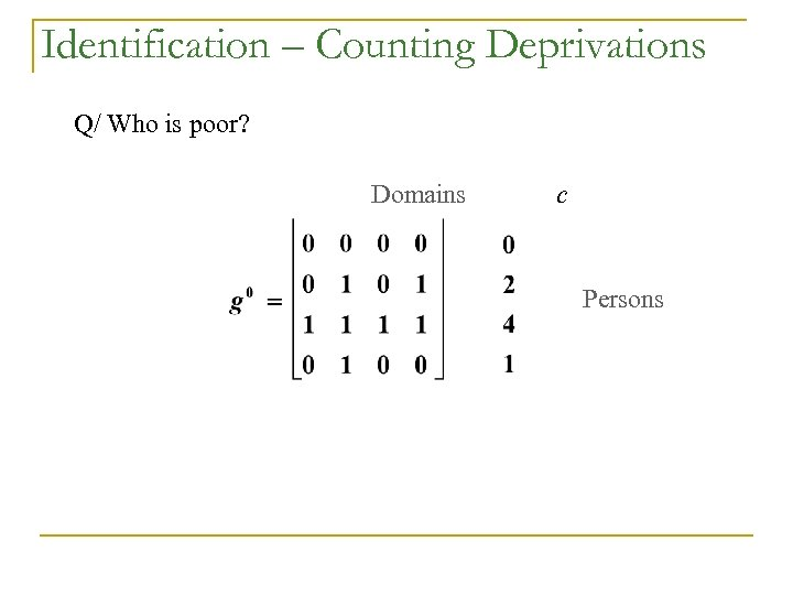 Identification – Counting Deprivations Q/ Who is poor? Domains c Persons