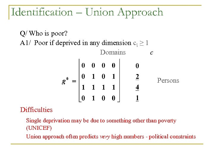 Identification – Union Approach Q/ Who is poor? A 1/ Poor if deprived in