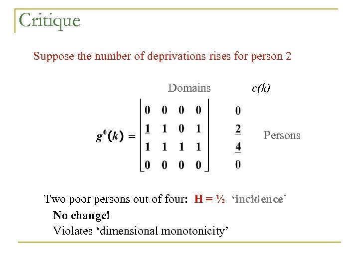 Critique Suppose the number of deprivations rises for person 2 Domains c(k) Persons Two