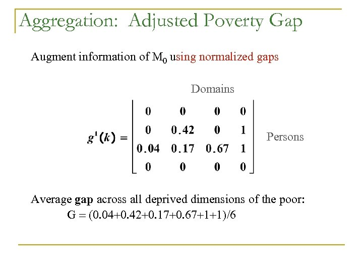 Aggregation: Adjusted Poverty Gap Augment information of M 0 using normalized gaps Domains Persons