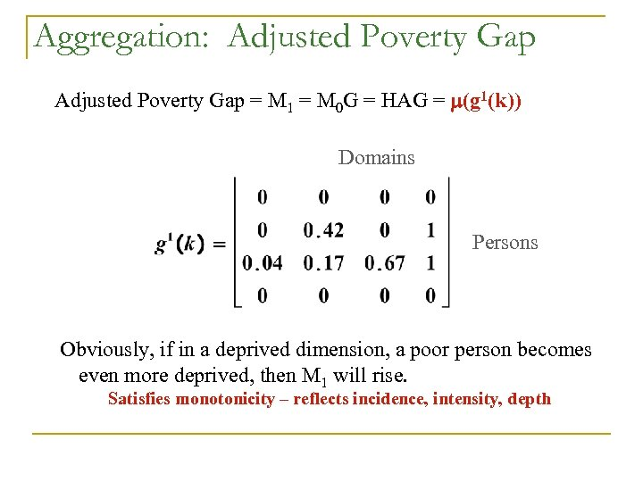 Aggregation: Adjusted Poverty Gap = M 1 = M 0 G = HAG =