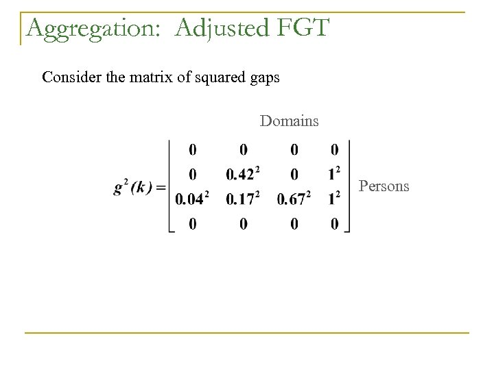 Aggregation: Adjusted FGT Consider the matrix of squared gaps Domains Persons