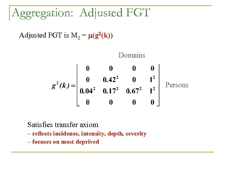 Aggregation: Adjusted FGT is M = m(g 2(k)) Domains Persons Satisfies transfer axiom –