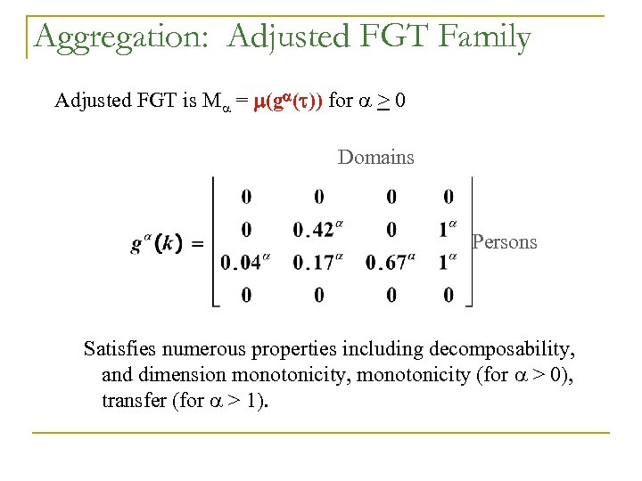 Aggregation: Adjusted FGT Family Adjusted FGT is M = m(ga(t)) for > 0 Domains