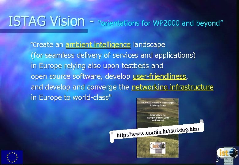 """ISTAG Vision - """"orientations for WP 2000 and beyond"""" """"Create an ambient intelligence landscape"""