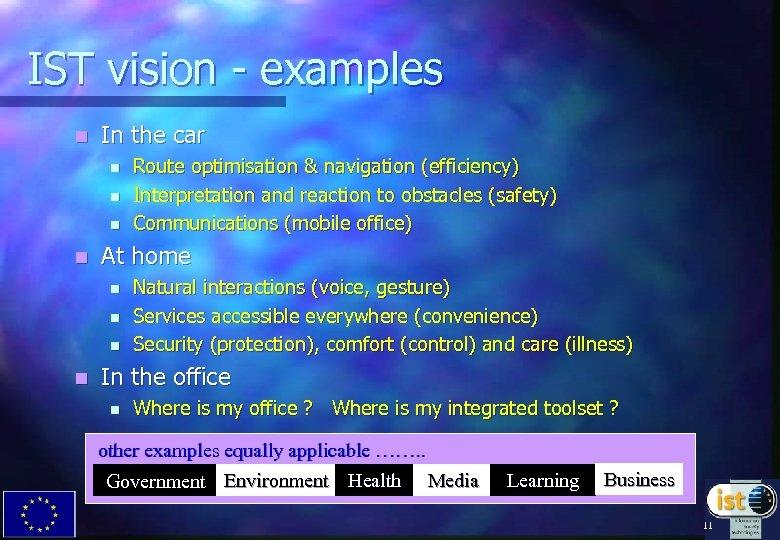 IST vision - examples n In the car n n At home n n