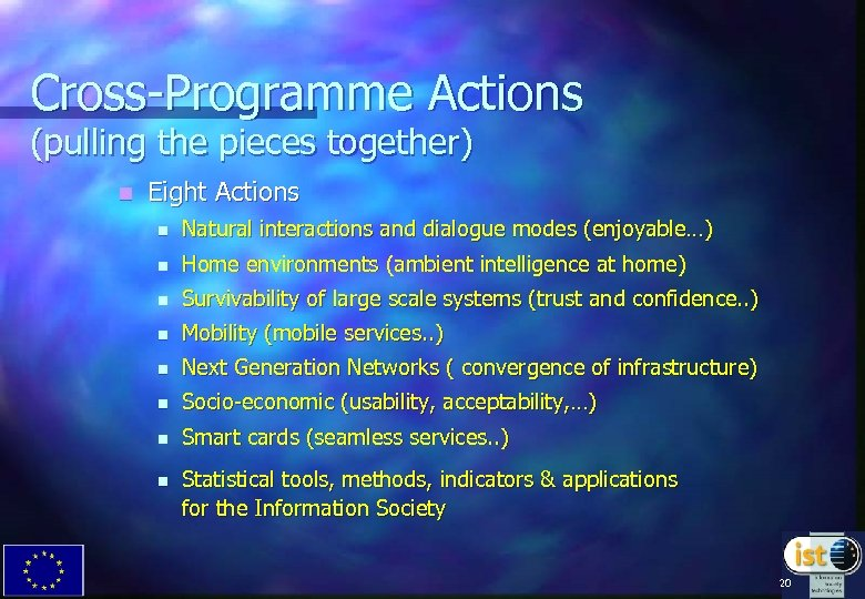 Cross-Programme Actions (pulling the pieces together) n Eight Actions n Natural interactions and dialogue