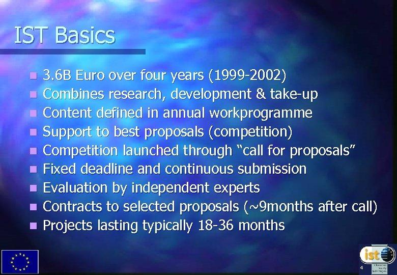 IST Basics n n n n n 3. 6 B Euro over four years