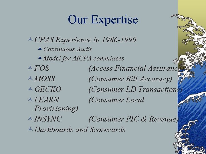 Our Expertise © CPAS Experience in 1986 -1990 ©Continuous Audit ©Model for AICPA committees