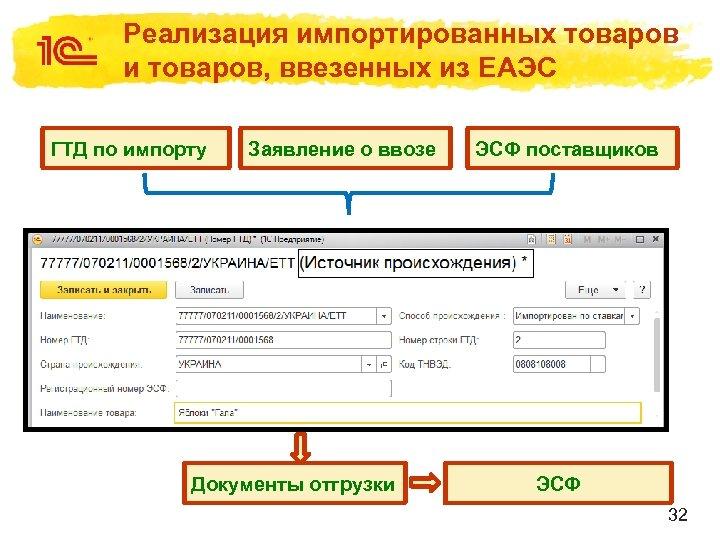 Реализация импортированных товаров и товаров, ввезенных из ЕАЭС ГТД по импорту Заявление о ввозе