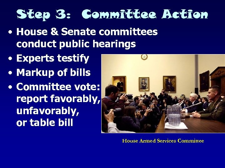 Step 3: Committee Action • House & Senate committees conduct public hearings • Experts