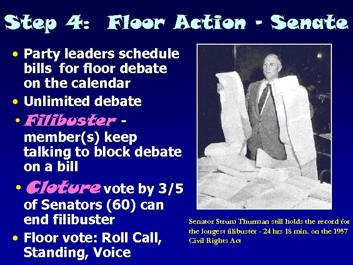 Step 4: Floor Action - Senate • Party leaders schedule bills for floor debate