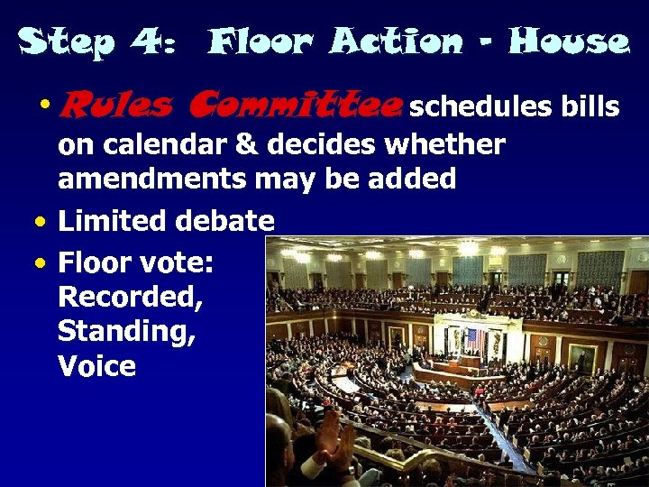 Step 4: Floor Action - House • Rules Committee schedules bills on calendar &