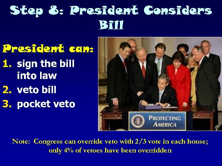Step 8: President Considers Bill President can: 1. sign the bill into law 2.