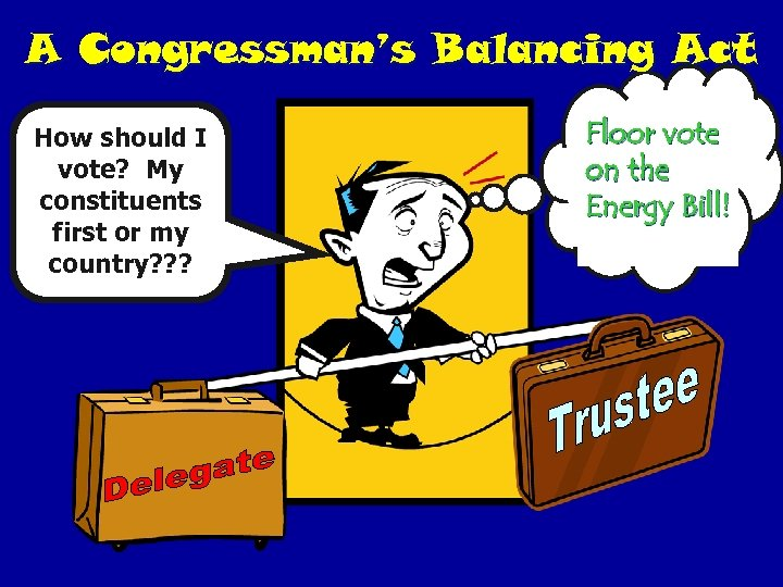 A Congressman's Balancing Act How should I vote? My constituents first or my country?
