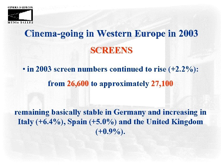 Cinema-going in Western Europe in 2003 SCREENS • in 2003 screen numbers continued to