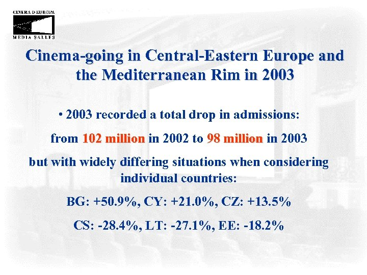 Cinema-going in Central-Eastern Europe and the Mediterranean Rim in 2003 • 2003 recorded a