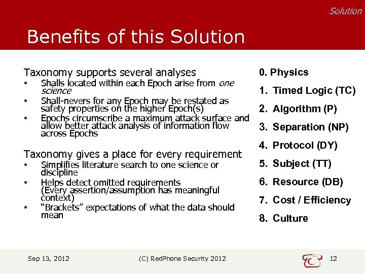 Solution Benefits of this Solution Taxonomy supports several analyses • Shalls located within each