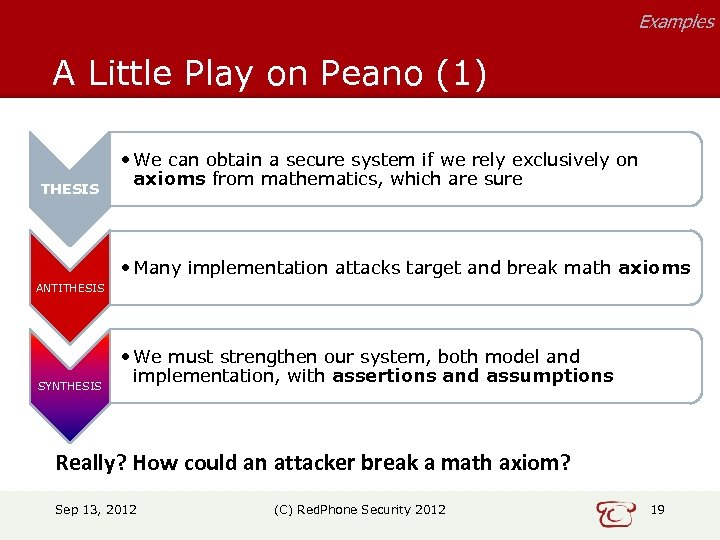 Examples A Little Play on Peano (1) THESIS • We can obtain a secure