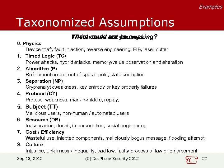 Examples Taxonomized Assumptions Which ones not be any… There could are you making? 0.