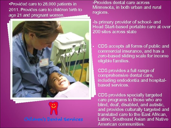 • Provided care to 28, 000 patients in 2011. Provides care to children