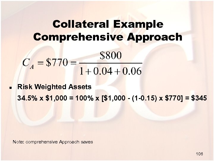 Collateral Example Comprehensive Approach n Risk Weighted Assets 34. 5% x $1, 000 =