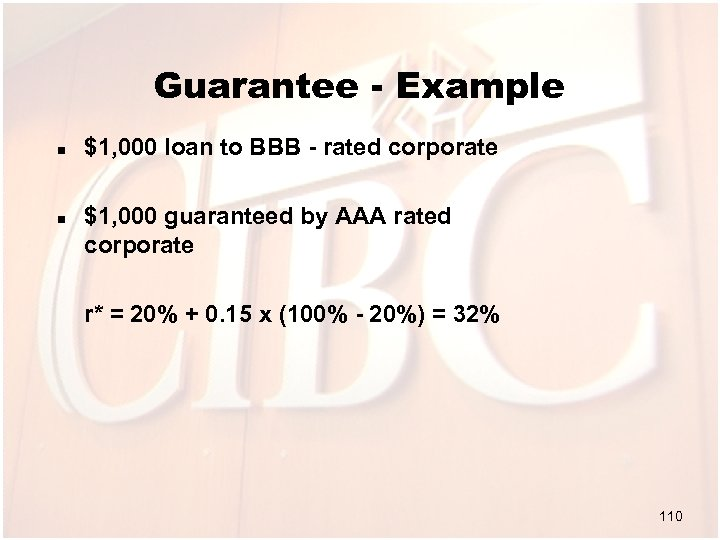 Guarantee - Example n n $1, 000 loan to BBB - rated corporate $1,