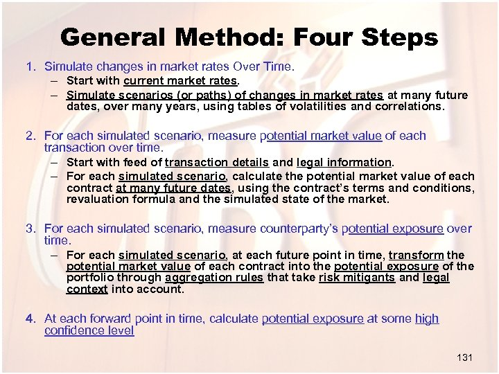 General Method: Four Steps 1. Simulate changes in market rates Over Time. – Start