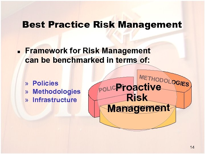Best Practice Risk Management n Framework for Risk Management can be benchmarked in terms