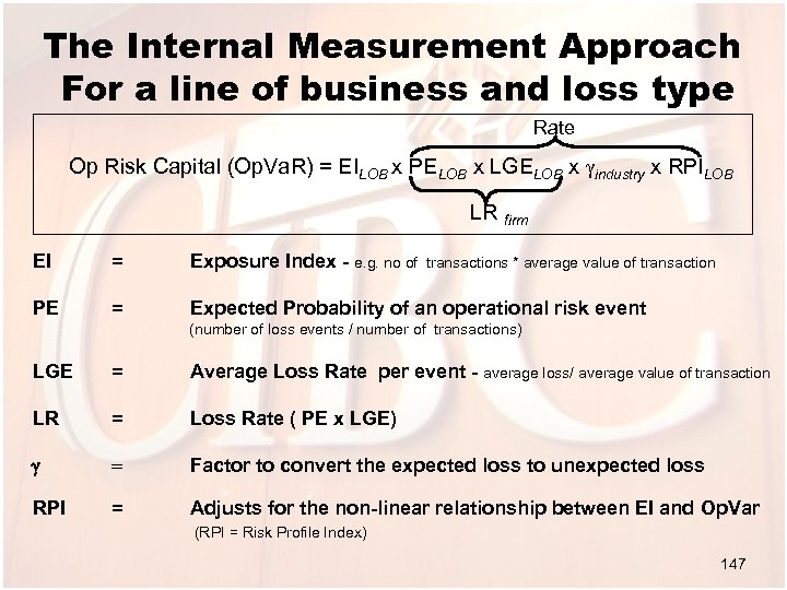 The Internal Measurement Approach For a line of business and loss type Rate Op