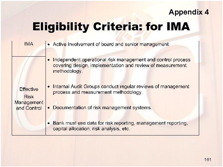Appendix 4 Eligibility Criteria: for IMA 161
