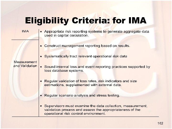Eligibility Criteria: for IMA 162