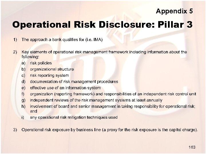 Appendix 5 Operational Risk Disclosure: Pillar 3 163