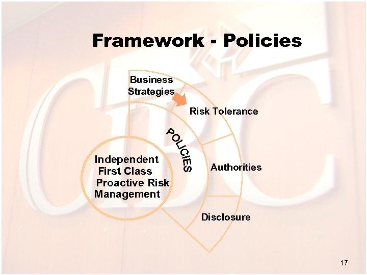 Framework - Policies Business Strategies Risk Tolerance Independent First Class Proactive Risk Management Authorities