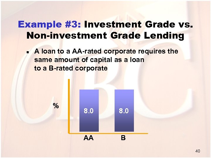 Example #3: Investment Grade vs. Non-investment Grade Lending n A loan to a AA-rated