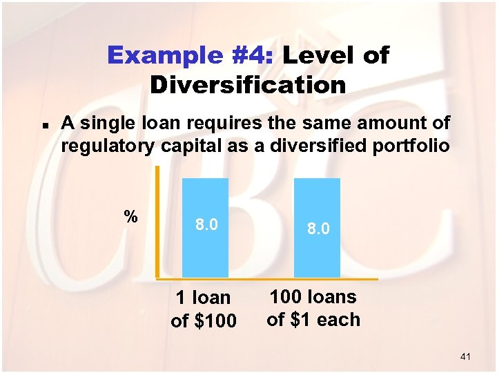 Example #4: Level of Diversification n A single loan requires the same amount of
