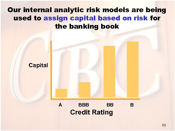 Our internal analytic risk models are being used to assign capital based on risk