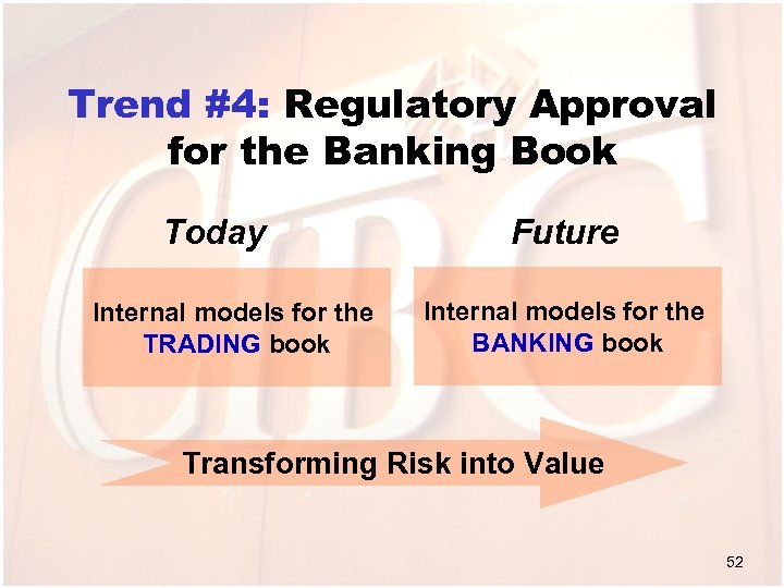 Trend #4: Regulatory Approval for the Banking Book Today Internal models for the TRADING