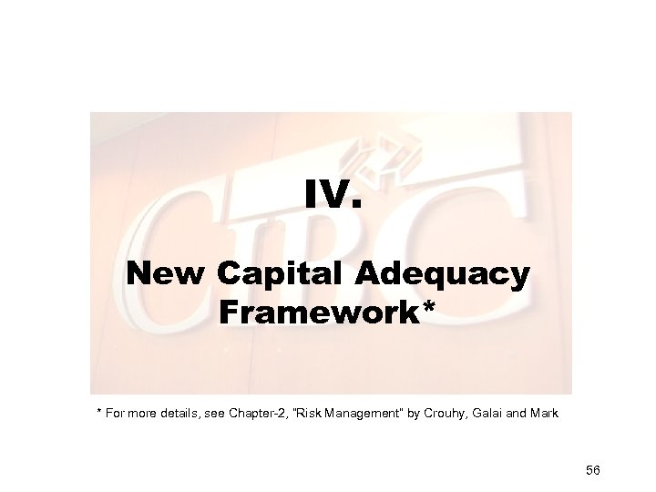 "IV. New Capital Adequacy Framework* * For more details, see Chapter-2, ""Risk Management"" by"