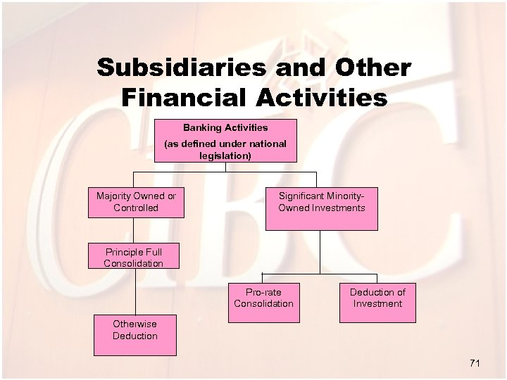 Subsidiaries and Other Financial Activities Banking Activities (as defined under national legislation) Majority Owned