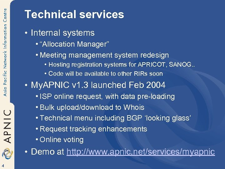 "Technical services • Internal systems • ""Allocation Manager"" • Meeting management system redesign •"