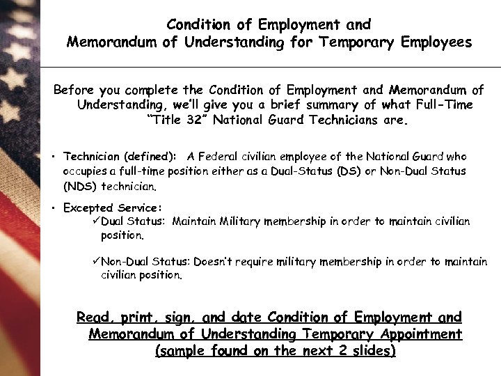 Condition of Employment and Memorandum of Understanding for Temporary Employees Before you complete the