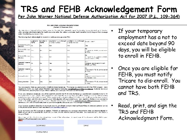TRS and FEHB Acknowledgement Form Per John Warner National Defense Authorization Act for 2007
